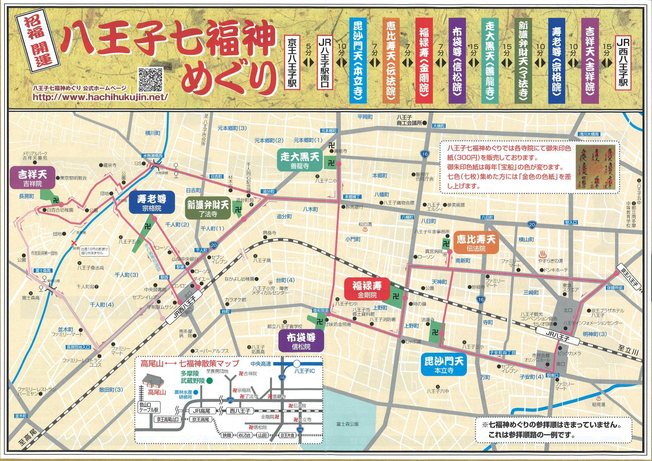 八王子七福神のマップ
