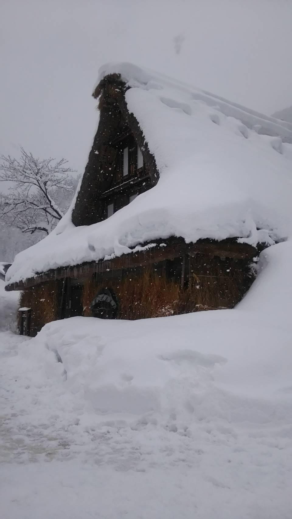 雪に埋まる合掌造りの家